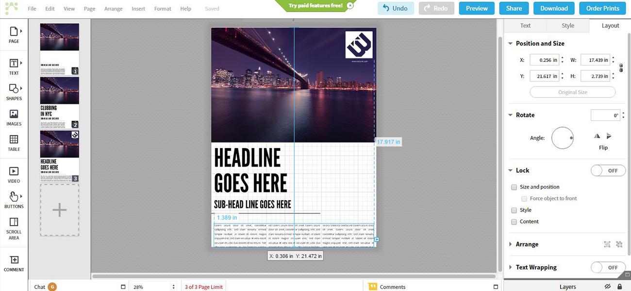 Captura de pantalla de Lucidpress, software para maquetar online