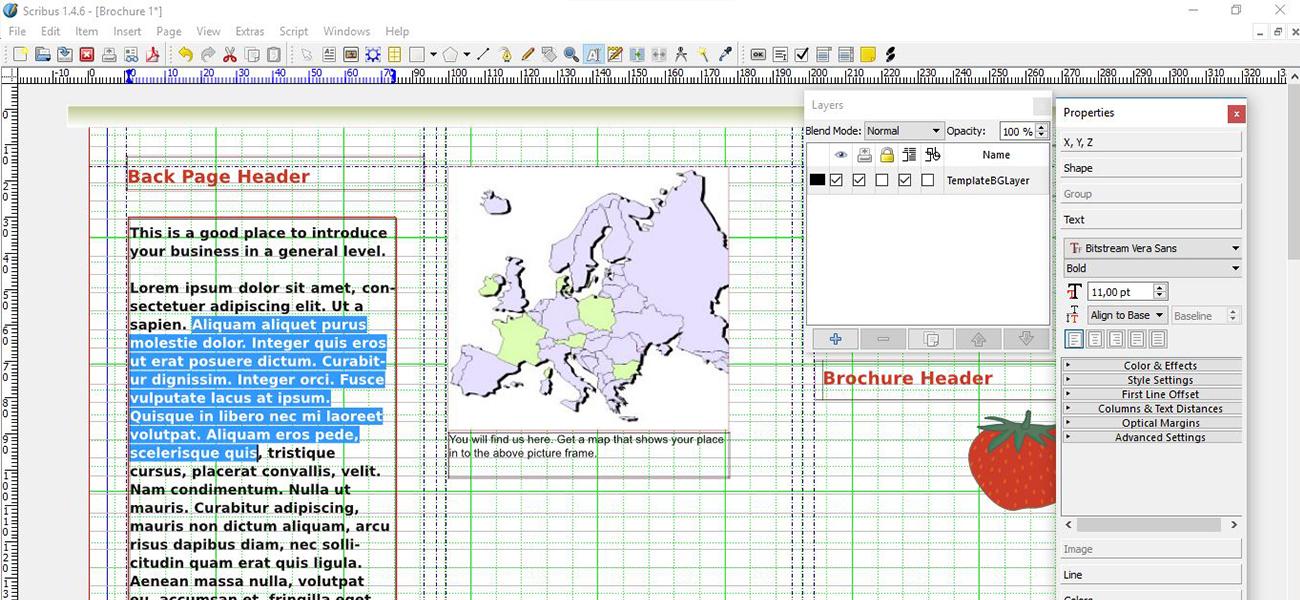 Captura de pantalla de Scribus: programa de maquetación de código abierto