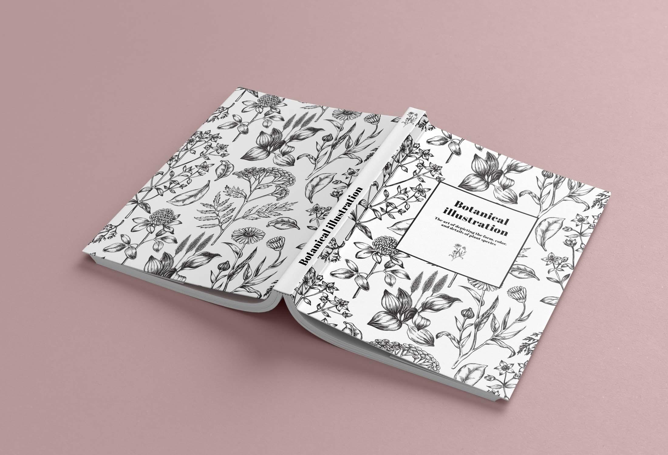 Libro abierto con encuadernación cosida y cubierta blanda
