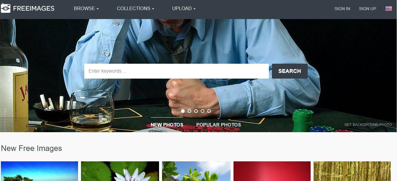 Página de inicio del sitio web de imágenes gratis Freeimages